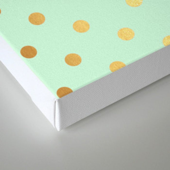 Gold polka dots on mint background - Luxury greenery pantone pattern Canvas Print