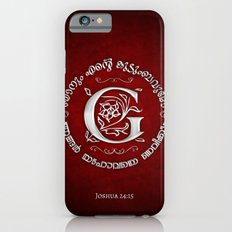Joshua 24:15 - (Silver on Red) Monogram G iPhone 6s Slim Case