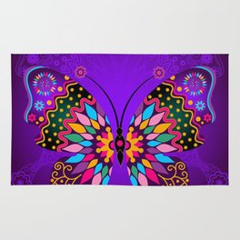 Colorful Butterflies and Flowers V23 Rug