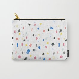 Abstract colorful dots and squares shapes painting print Carry-All Pouch