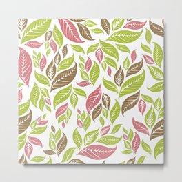Retro Vintage Inspired Leaf Print in Modern Pink Green Brown Metal Print