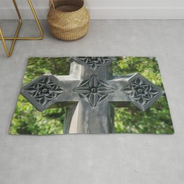 Gothic Style Christian Cross Headstone Old Holy Trinity Church in Wentworth  Rug