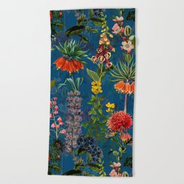 Vintage & Shabby Chic - Blue Midnight Spring Botancial Flower Garden Beach Towel