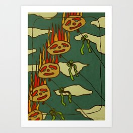 Vlammend in de wind Art Print