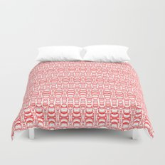 Dividers 07 in Red over White Duvet Cover