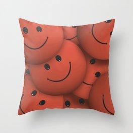 Orange Smileys Throw Pillow