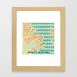 Rio de Janerio Map Retro Framed Art Print