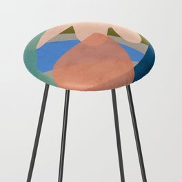 Shapes and Layers no.30 - Large Organic Shapes Blue Pink Green Gray Counter Stool