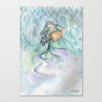 aquarius Canvas Prints featuring Aquarius by Aline Souza de Souza
