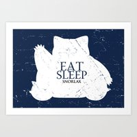 snorlax Art Prints featuring House Snorlax by Alecxps