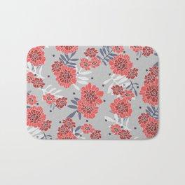 Crimson and Silver Floral Bath Mat
