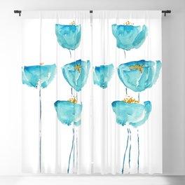 blue poppy watercolor Blackout Curtain
