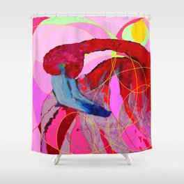 Contemporary Abstracted Tropical Flamingo Art Shower Curtain