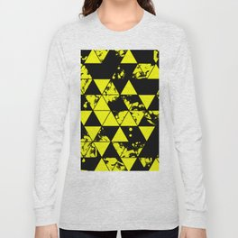 Splatter Triangles In Black And Yellow Long Sleeve T-shirt