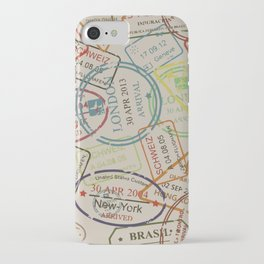 World Traveler Passport Stamp Vintage Design iPhone Case