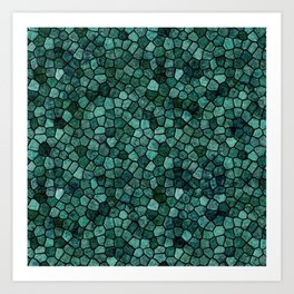 Oceanic Mosaic Crust Texture Abstract Pattern Art Print