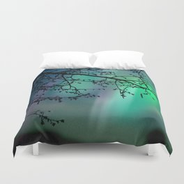 Tree Branch and Aurora Borealis Night Sky Duvet Cover