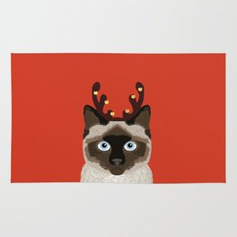 Siamese Cat Reindeer Costume funny cat art for cat lady gift for the holidays cats christmas outfit Rug