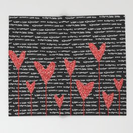Red Hearts Throw Blanket