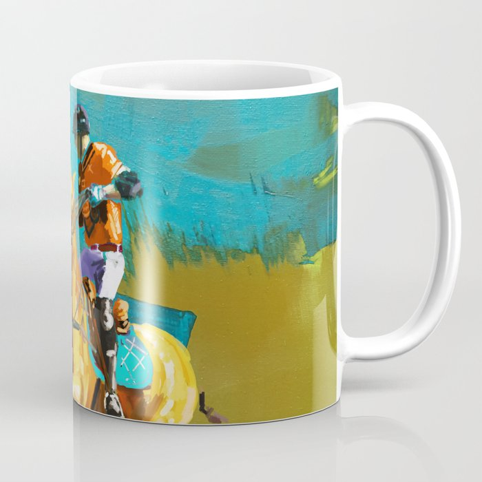 poloplayer abstract turquoise ochre Coffee Mug