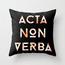 Acta Non Verba - Orange on Black Throw Pillow