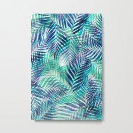 Palm Leaves - Indigo Green Metal Print