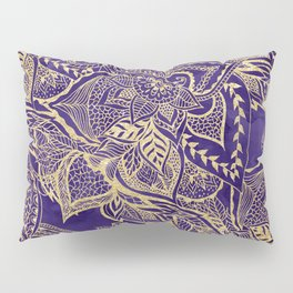 Gold hand drawn floral lace mandala on purple watercolor peacock Pillow Sham