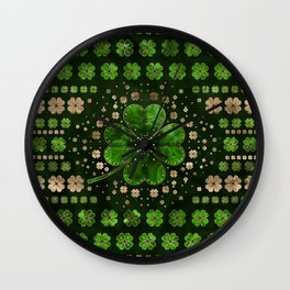 Irish Shamrock Four-leaf clover Malachite and gold Wall Clock