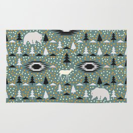 Winter pattern with deer, bears and dots Rug