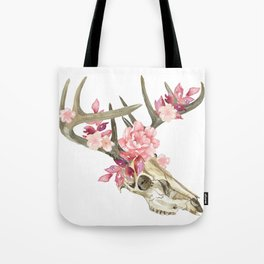 Bohemian deer skull and antlers with flowers Tote Bag