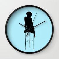 helen green Wall Clocks featuring Helen Blue by Kelly Lindstrom
