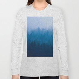 Blue Mountain Pine Trees Blue Ombre Gradient Colorful Landscape photo Long Sleeve T-shirt