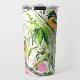 Baltimore Oriole and Garden Flowers Travel Mug