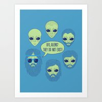 aliens Art Prints featuring aliens by gotoup