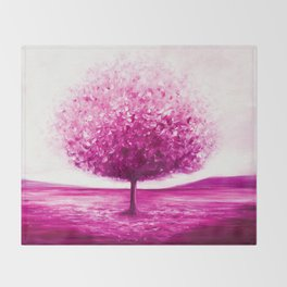 Pink tree landscape Throw Blanket