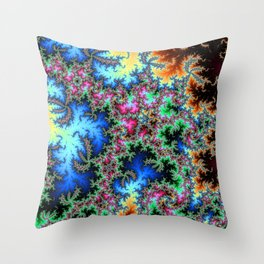 Peacock feathers on Acid - fractal art Throw Pillow