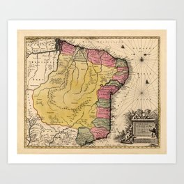 Map Of Brazil 1730 Art Print