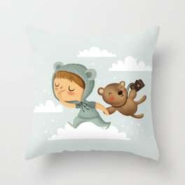 Little boy in blue Throw Pillow