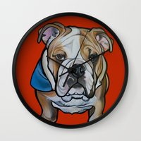 english bulldog Wall Clocks featuring Johnny the English Bulldog by Pawblo Picasso