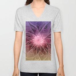 Flower Dream, Abstract Fractal Art Unisex V-Neck