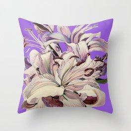 """Purple Lilies"" Throw Pillow"