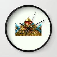crown Wall Clocks featuring CROWN by TANGRAMMAR