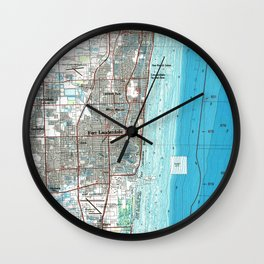 Fort Lauderdale Florida Map (1985) Wall Clock