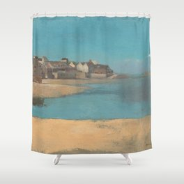 Odilon Redon - Village by the Sea in Brittany Shower Curtain