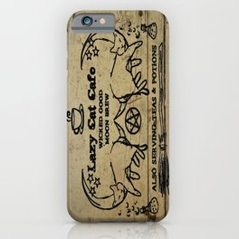 Lazy Cat Cafe sign - Black Cats on the Moon iPhone Case