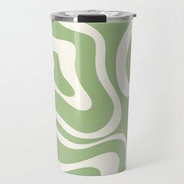 Modern Liquid Swirl Abstract Pattern in Light Sage Green and Cream Travel Mug