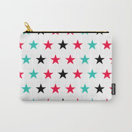 Stars pattern in black, red and turquoise Carry-All Pouch