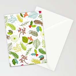 Falling forest leaves with snowflakes Stationery Cards