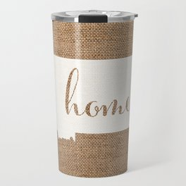 Montana is Home - White on Burlap Travel Mug