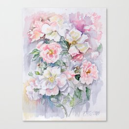White Wild Roses Watercolor painting White Pink Rose Flower Bouquet Wedding decor Canvas Print